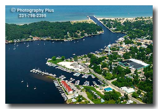 Aerial Photo Of Pentwater Michigan With Snug Harbor