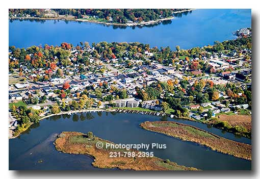 Aerial Photo Of The Town Of Spring Lake Michigan In The