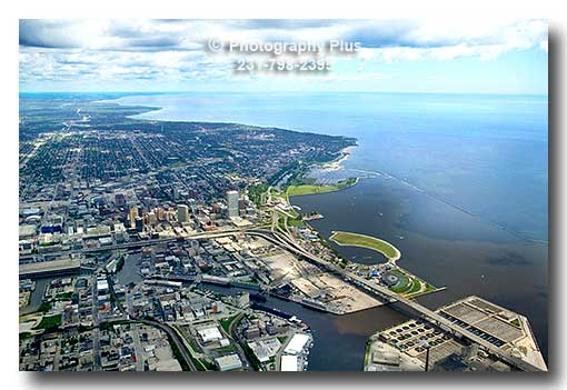 Aerial Photo Of The Milwaukee Skyline And Harbor Showing